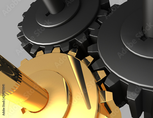 3D Gear.The mechanism . 3d rendered illustration Wallpaper Mural