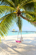 canvas print picture Round Paradise Swing over dreamy sandy beach with Ocean Water background