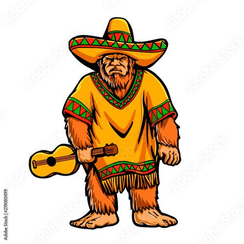 Photo  Mexican bigfoot cartoon illustration