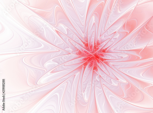 Poster Fractal waves Fractal virtual pink flower