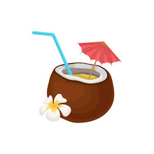 Tropical Cocktail In Coconut W...