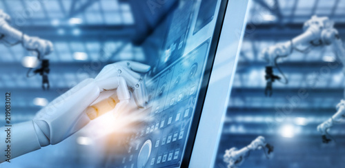 Hand of robot working on control panel in intelligent factory checking and controlling automation robot arms machine welding robotics and digital manufacturing system Wallpaper Mural