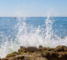 Rough Seas Crashing Against Rocks In Carvoiero, Portugal