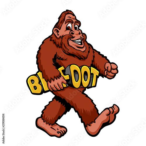 Photo  Walking bigfoot cartoon illustration