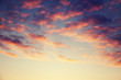 Beautiful bright sunset sky with pink clouds, natural abstract background and texture, heaven, religion