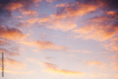 Foto op Canvas Hemel Beautiful bright sunset sky with pink clouds, natural abstract background and texture, heaven, religion