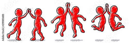 Set: Rote Strichmännchen beim High-Five / Schraffierte Vektor-Zeichnung Canvas-taulu