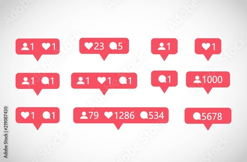 Fotomural Social Media followers, comments, likes vector set