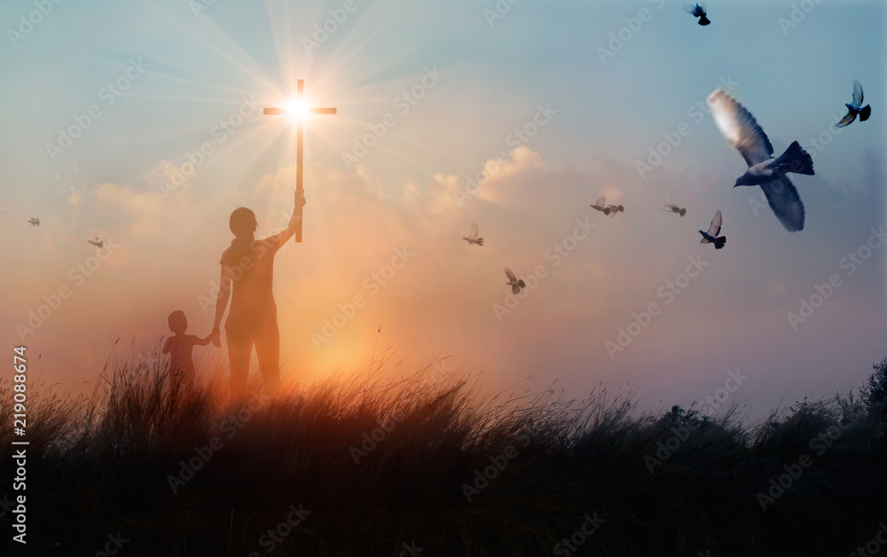 Fototapety, obrazy: Silhouette Christianity of mother and son  prayers raising cross while praying on sunset  background, worship concept