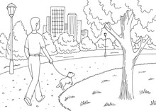 Park Graphic Black White Landscape Sketch Illustration Vector. Man Is Walking With A Dog