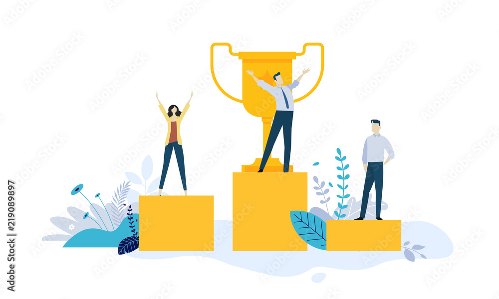 Fototapeta Vector illustration concept of business success, leadership, awards, career, successful projects, goal, winning plan, competition. Creative flat design for web banner, business and marketing material.