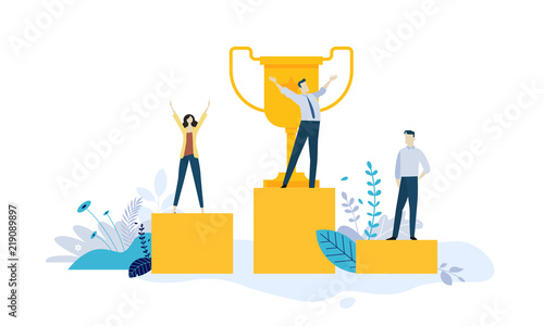 Leinwand Poster Vector illustration concept of business success, leadership, awards, career, successful projects, goal, winning plan, competition