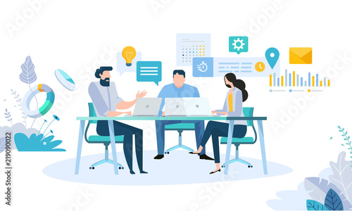 Obraz Vector illustration concept of business workflow, time management, planning, task app, teamwork, meeting. Creative flat design for web banner, marketing material, business presentation. - fototapety do salonu