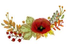 Autumn Leaves, Poppy Flower, T...