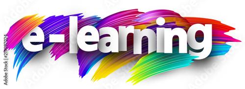 Fototapeta E-learning sign with colorful brush strokes. obraz na płótnie