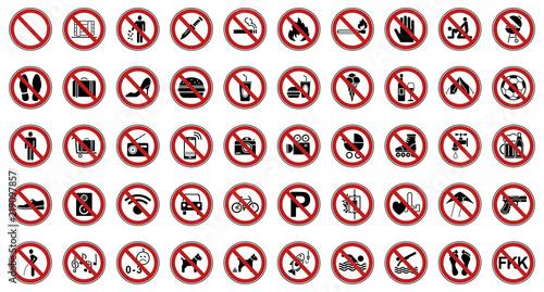 Fotografía  50 Verbots- & Warnschilder (Rot)