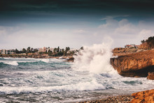 Beautiful Seascape, The Waves Break Against The Rocks, The Coast Of The Mediterranean Sea Cyprus, Paphos
