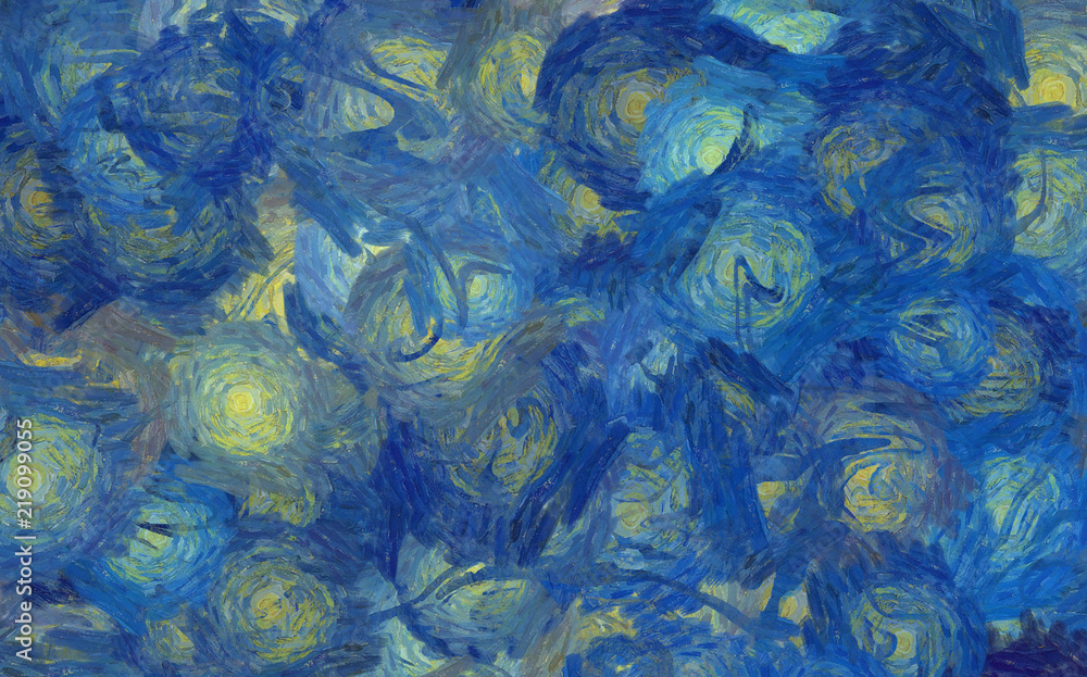 Impressionism painting abstraction in Vincent Van Gogh art style. Soft paint brushstrokes. Bright pastel colors. Abstract painting background. Modern or contemporary art. Hand drawn artistic pattern.