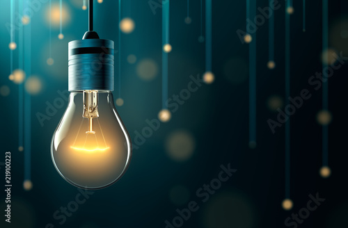 Photo  Light bulb with hanging lights background