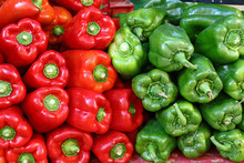 Close Up Fresh Green And Red Bell Peppers