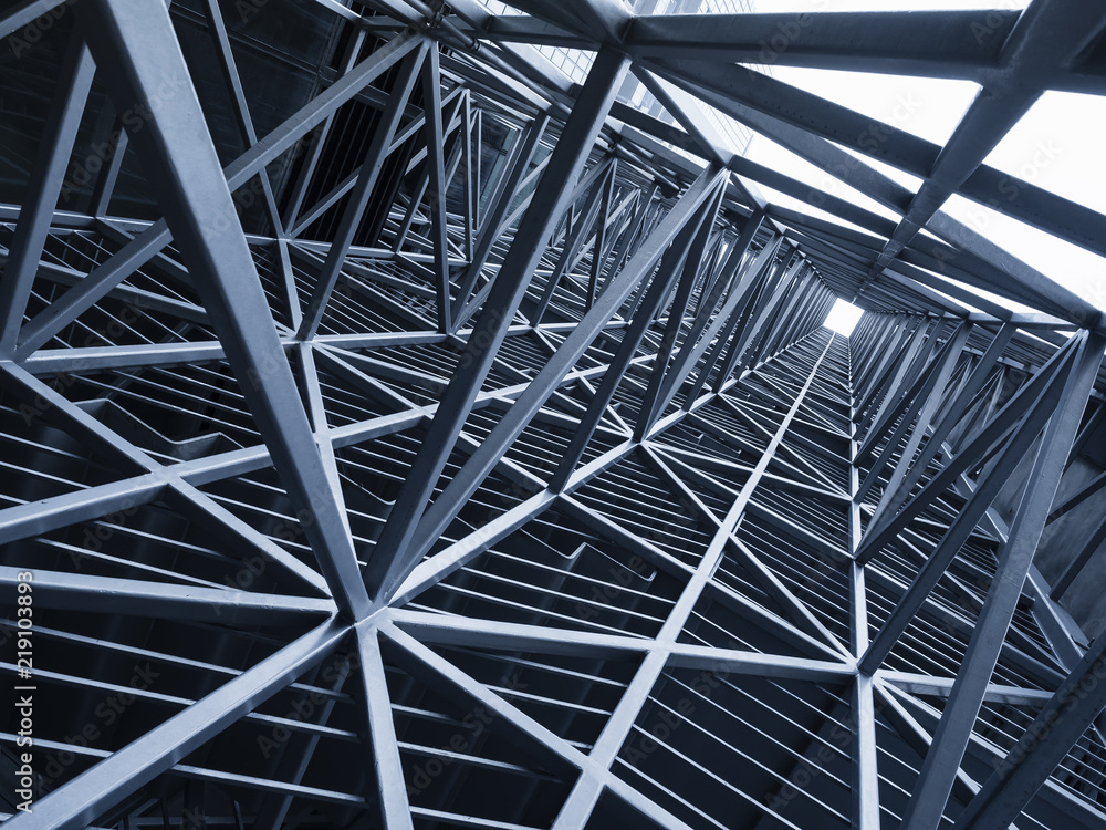 Fototapeta Steel Construction Metal frame pattern Architecture detail background