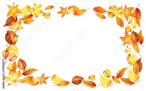 autumn leaves fall horizontal frame watercolor illustration