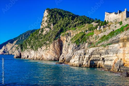 Fotografie, Obraz  Sea coast and Castello Doria castle in Portovenere, La Spezia province, Italy