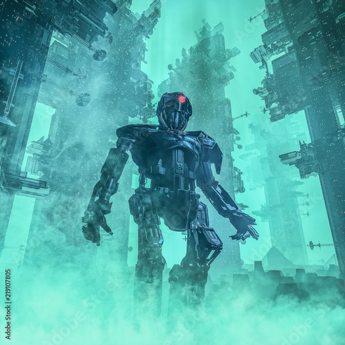 Fotografie, Obraz  The city sentinel / 3D illustration of dark android in towering futuristic city