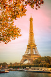 Fototapeta Paryż - Eiffel tower and the river Seine, yellow automnal trees, Paris France