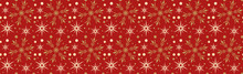 Red Christmas Background With Snowflakes, Seamless Pattern, Christmas Wrapping Paper