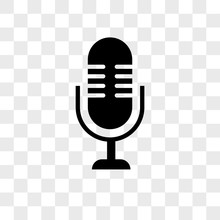 Microphone Vector Icon On Tran...