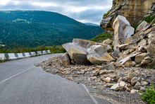 Rockfall On The Road In The Mo...