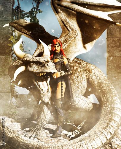 Naklejka premium Kobieta wojownik ze smokiem, renderowania 3d fantasy dla okładki książki lub ilustracji książki