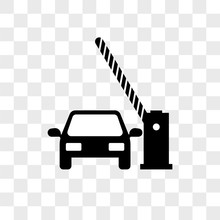 Barrier And Car Vector Icon On...