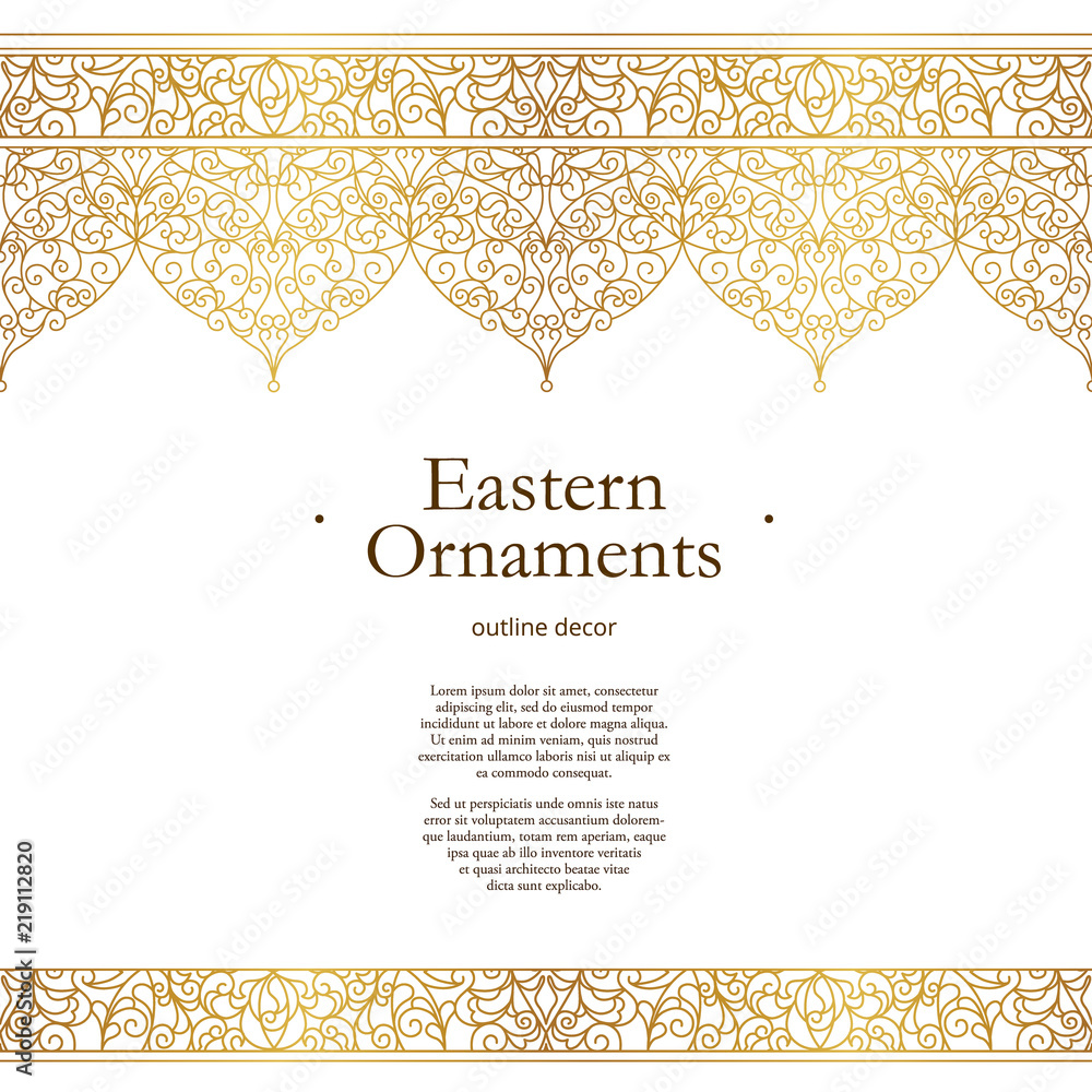 Fototapety, obrazy: Vector vintage seamless border in Eastern style.