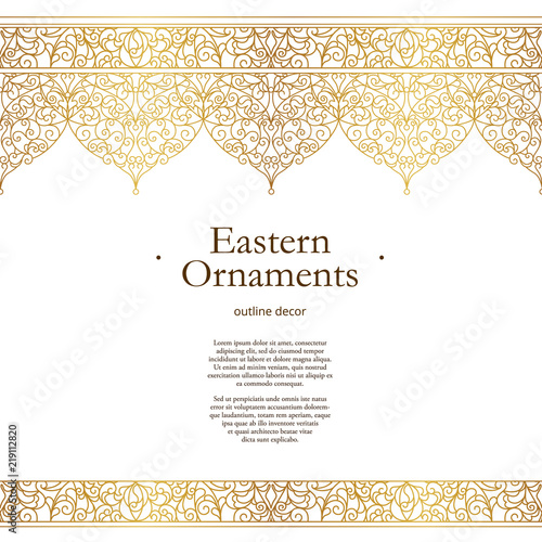 Fotografia  Vector vintage seamless border in Eastern style.
