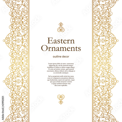Vector vintage seamless border in Eastern style. Wall mural