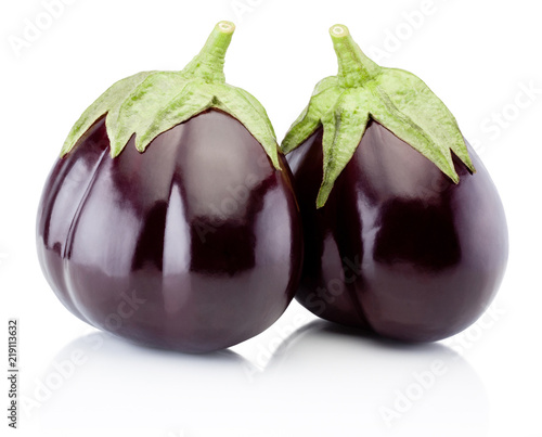 Two fresh aubergine isolated on a white background Wallpaper Mural