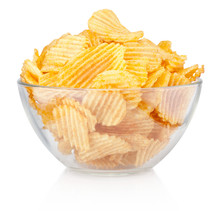 Crinkle Cut Potato Chips In Bowl Isolated On A White Background