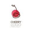 Cherry logo design, creative template for cafe, bar, club, store, package, price tag, flyer vector Illustration