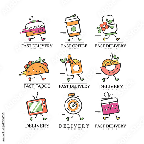 Fotografiet  Fast delivery logo, creative template for corporate identity, restaurant, cafe,