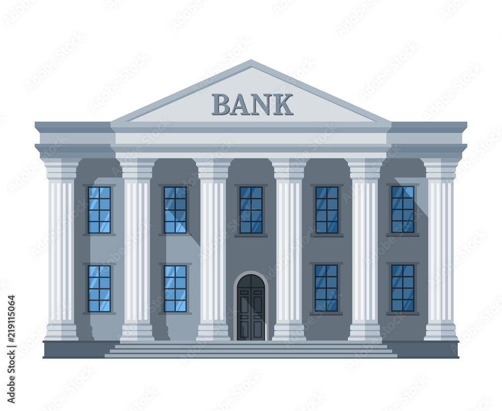 Fototapeta Cartoon retro bank building or courthouse with columns vector illustration isolated on white background