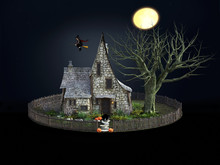 3D Rendering Of Spooky House A...