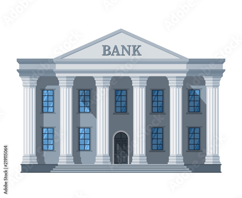 Fototapeta Cartoon retro bank building or courthouse with columns vector illustration isolated on white background obraz