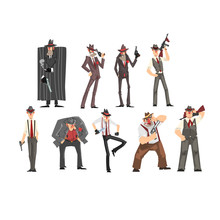 Gangster Set, Criminal Characters In Fedora Hat With Gun Vector Illustrations On A White Background
