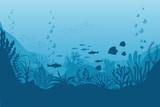 Fototapeta Fototapety na ścianę do pokoju dziecięcego - Sea underwater background. Ocean bottom with seaweeds. Vector marine scene
