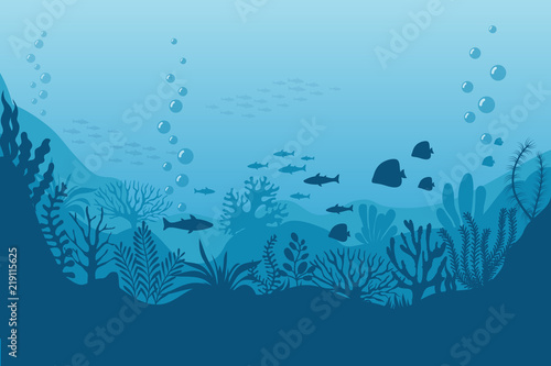 Sea underwater background. Ocean bottom with seaweeds. Vector marine scene
