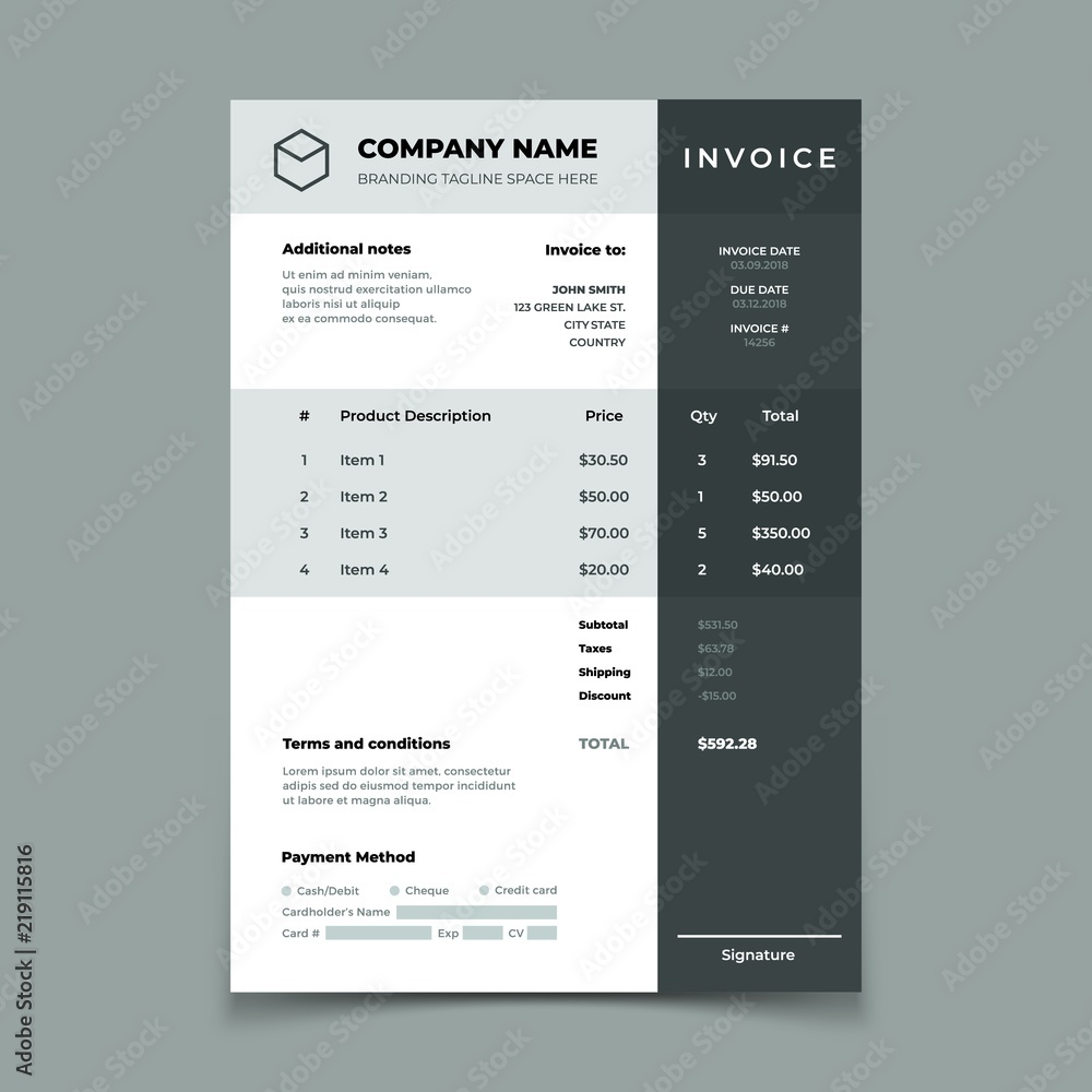 Fototapety, obrazy: Invoice template. Bill with price table. Paper order bookkeeping service document. Quotation vector design