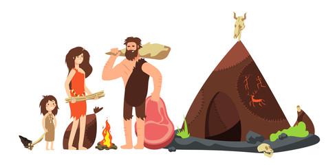 Cartoon caveman family. Prehistoric neanderthal hunters and kids. Ancient homo sapiens vector illustration
