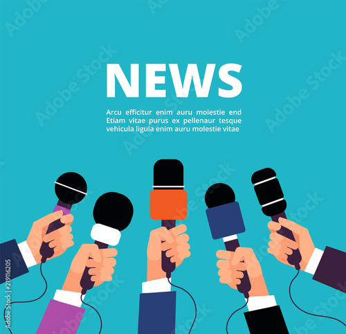 Obraz News concept with microphones. Broadcasting, interview and communication vector banner with handa holding microphones - fototapety do salonu